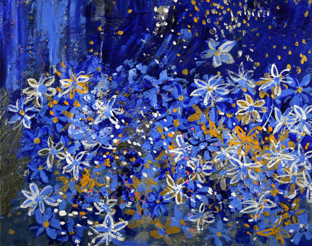 2013-006 Blue Daisy Sparkle Garden with Stars by Alyse Radenovic