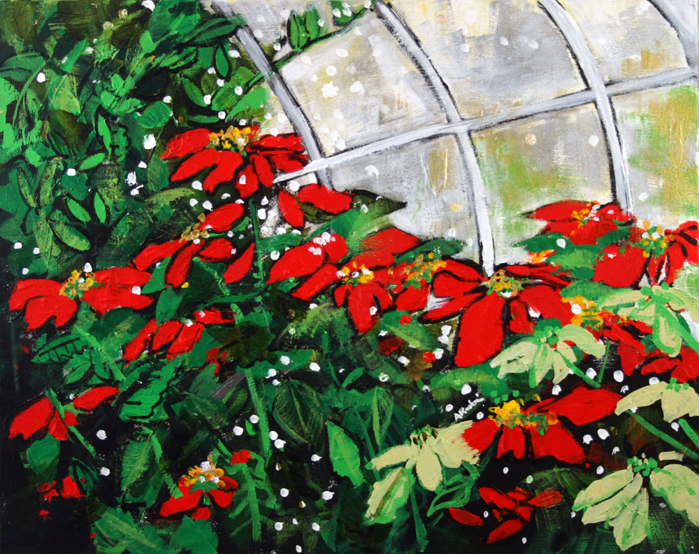 2013-010 Poinsettias and Dots - Conservatory at the U.S. Botanic Garden, Washington, D.C. painting by Alyse Radenovic