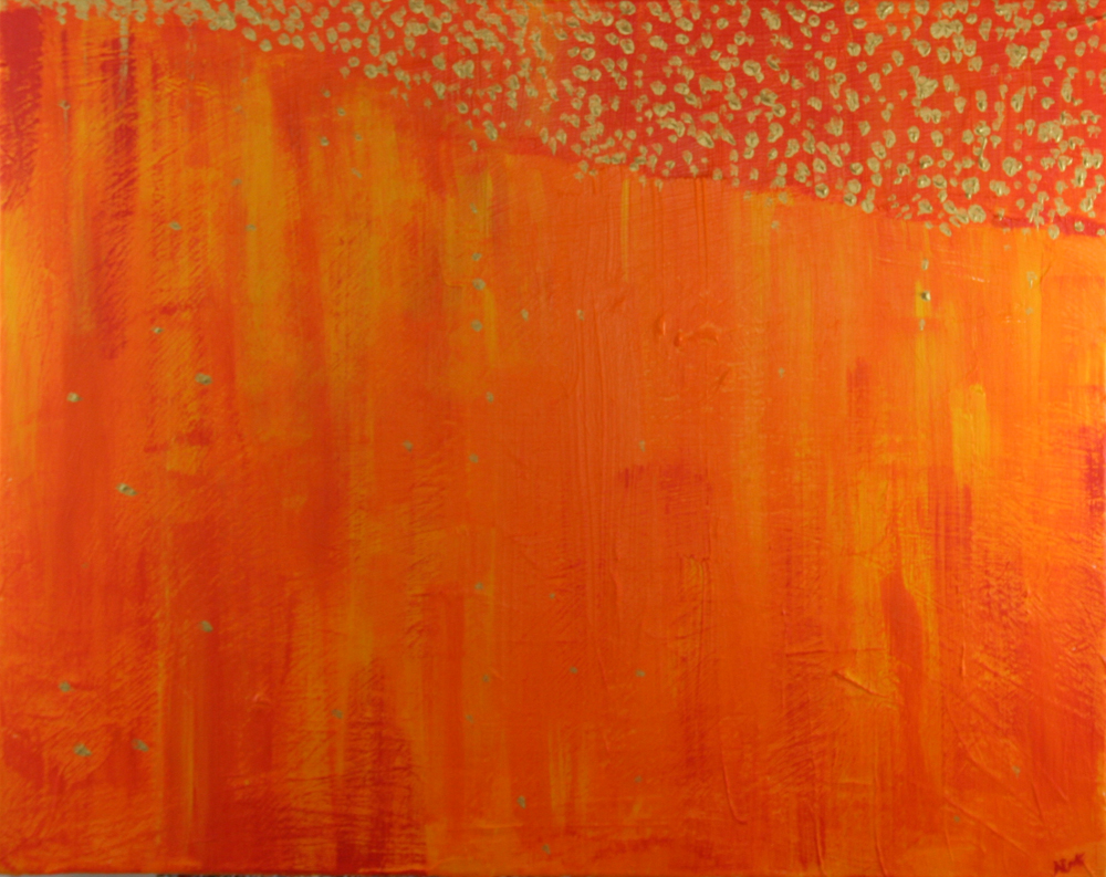 2013-024 Layers of Orange with Seeping Gold Dots