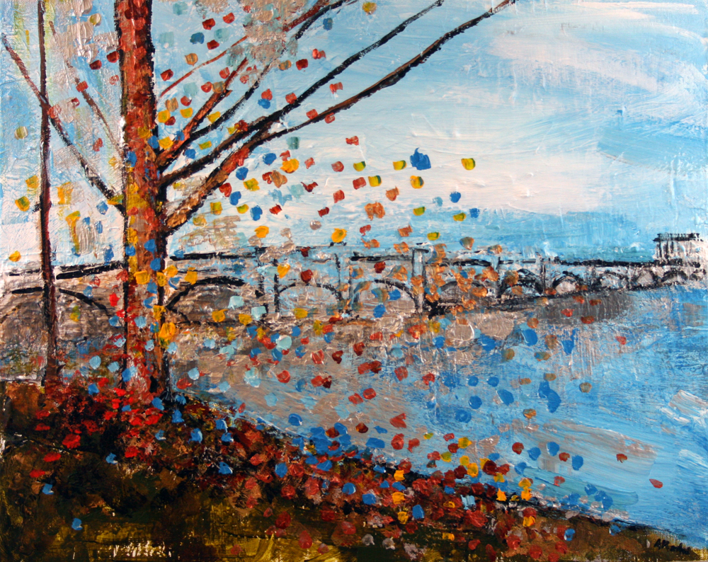 2013-038 Arlington Memorial Bridge - Light Blue with Other Colors Painting by Alyse Radenovic