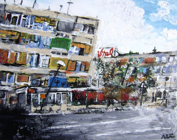 banja luka yellow blue grey Painting by Alyse Radenovic