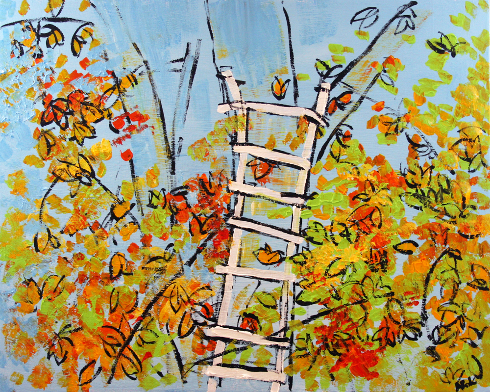 2013-054 Tree and Ladder, Alexandria, Virginia - Painting by Alyse Radenovic