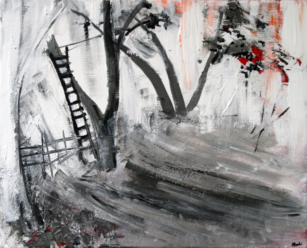2013-058 Tree and Ladder, Alexandria, Virginia, Silver, Black, White, Red - Painting by Alyse Radenovic