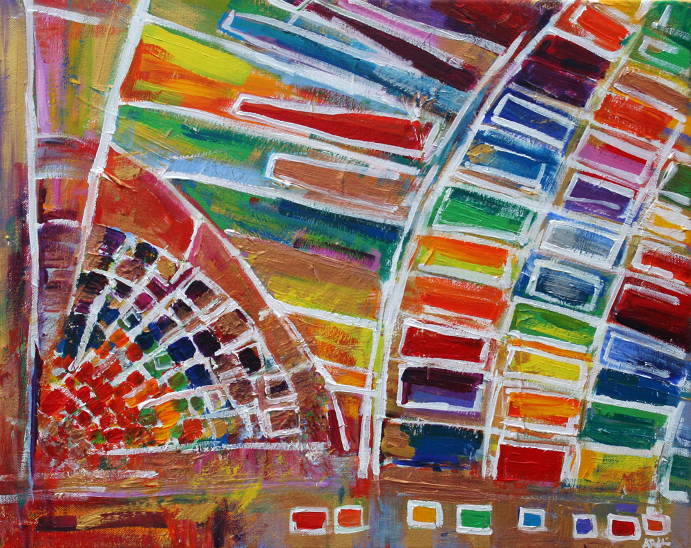 2014-01 Gallery Place Chinatown Metro Station Washington, D.C. in Rainbow and Gold - Painting by Alyse Radenovic