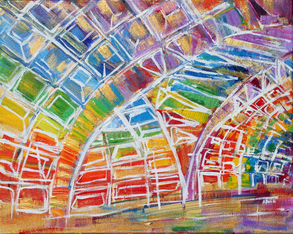 2014-02 L'Enfant Plaza Metro Station, Washington, D.C. in Rainbow and Gold - Painting by Alyse Radenovic