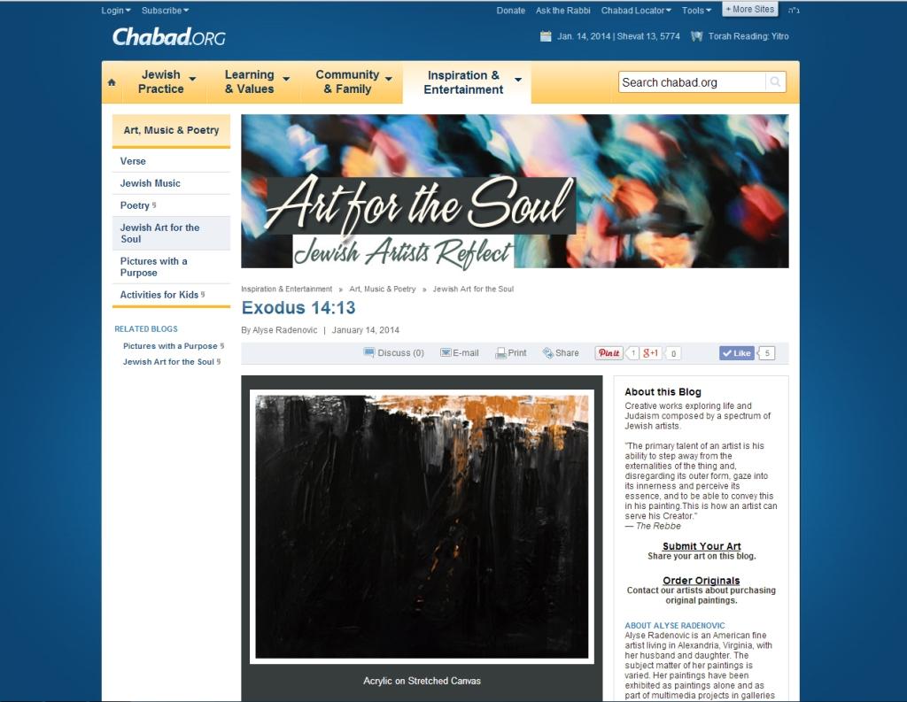 Alyse Radenovic at Chabad.Org  Exodus painting