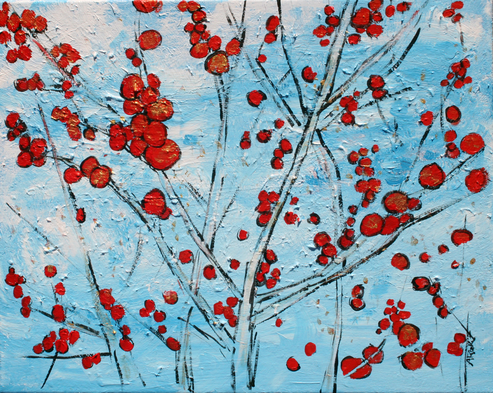 2014-44 Red Berries and Blue Sky at U.S. Botanic Garden in Washington, D.C. by Alyse Radenovic