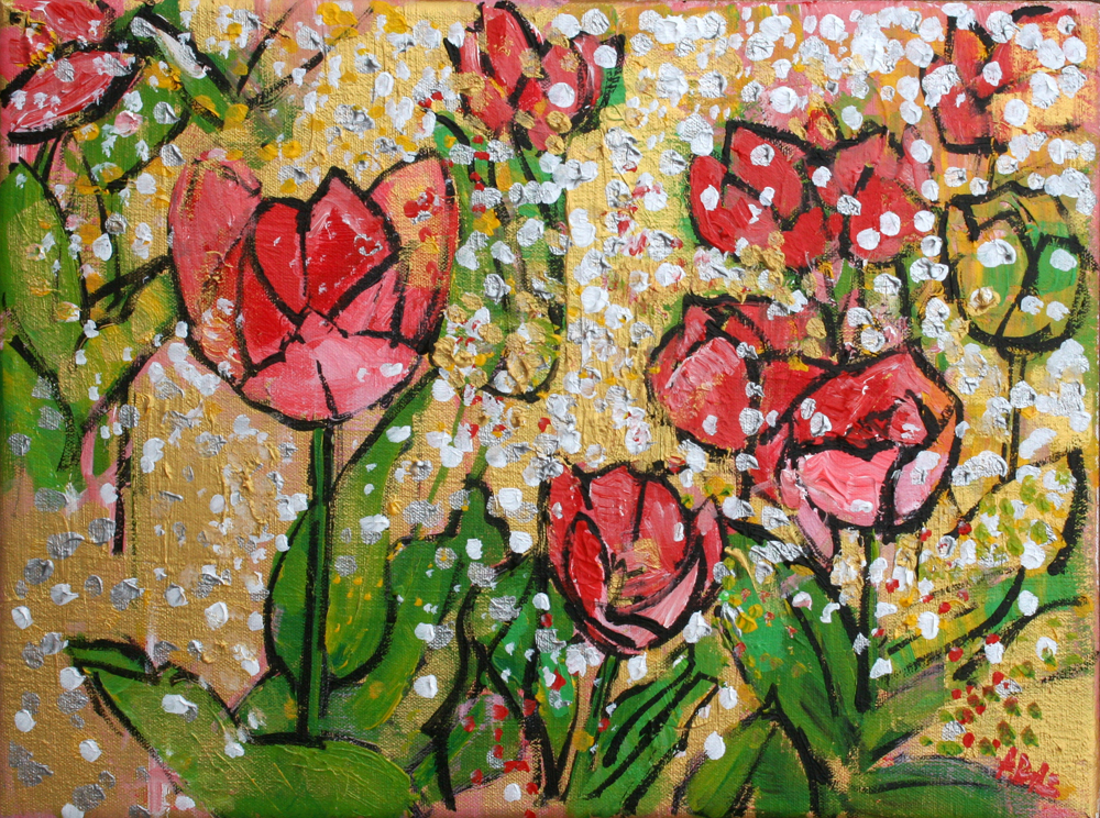 2015-017 Red and Pink Tulips on Gold by Alyse Radenovic