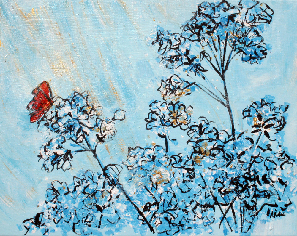 Blue Azaleas and Red Butterfly