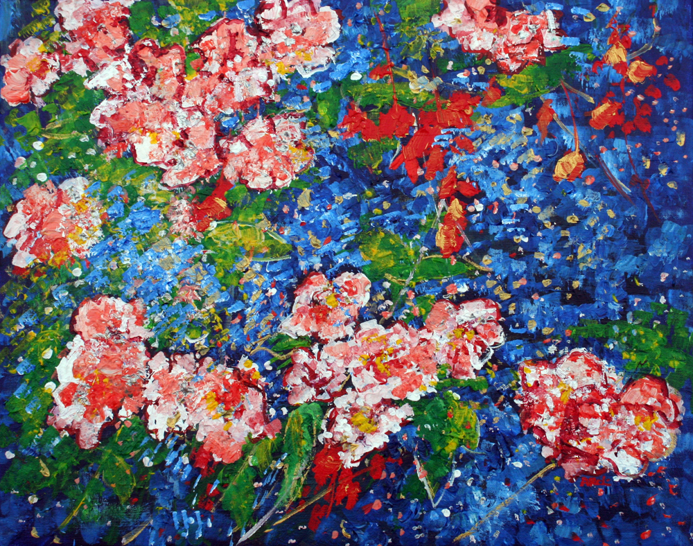 2016-87 Cherry Blossoms XI blue pink red