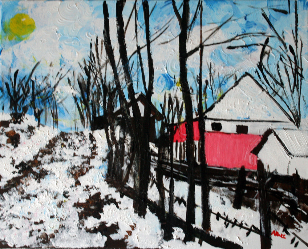 Mrkovici village. Painting. Alyse Radenovic.