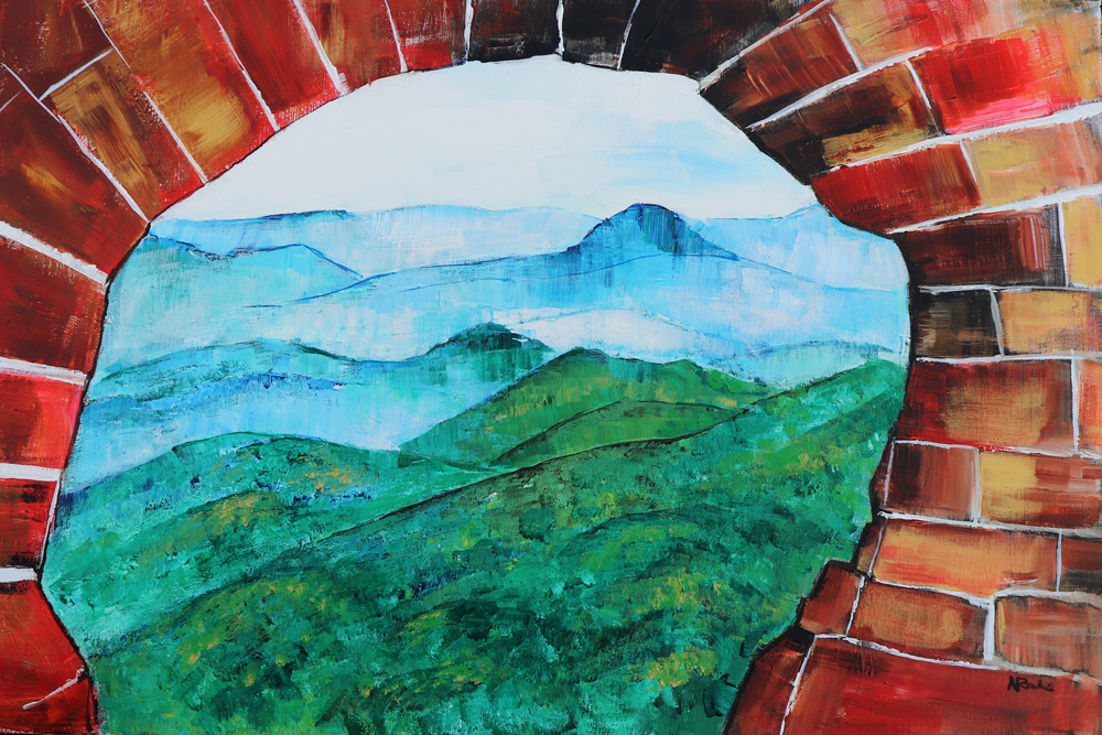 Great Wall V, Painting by Alyse Radenovic after a photo by Xiyang Liu